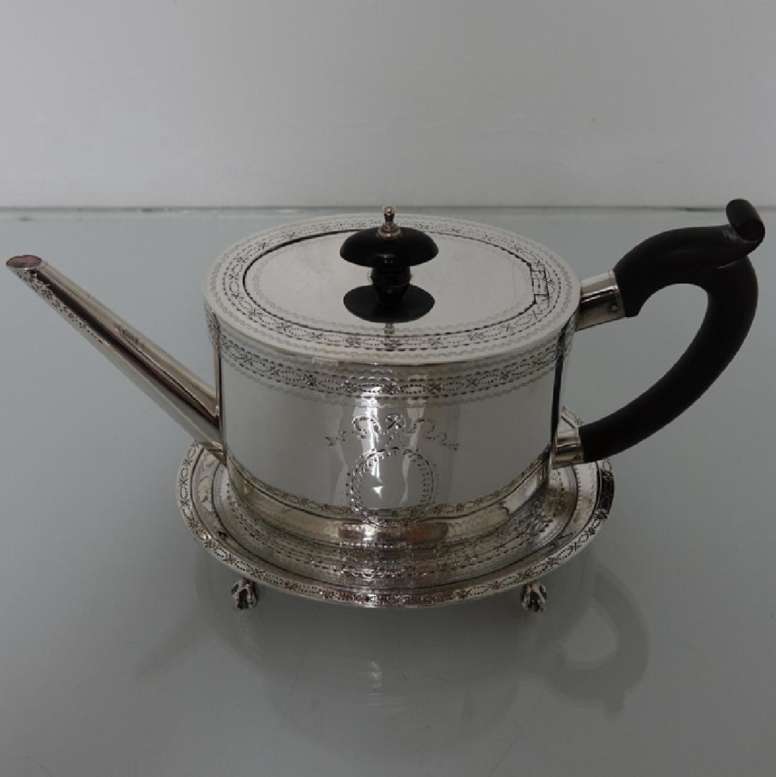 18th Cent. Sterling Silver George III Teapot & Stand - 2