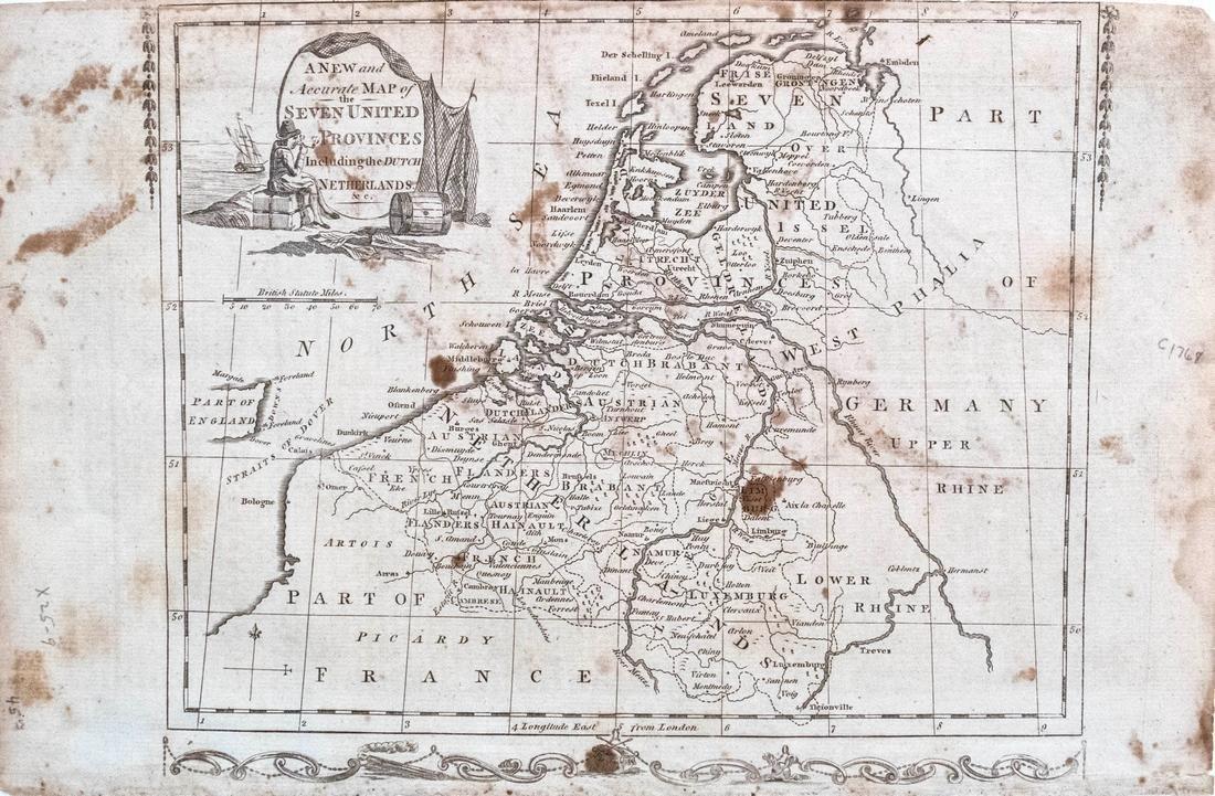 Millar Map of Netherlands, Belgium, Luxembourg 1768
