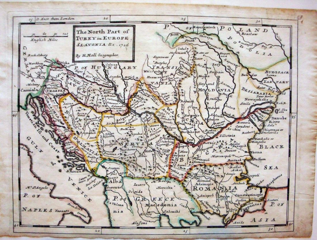 Herman Moll: Map of North Part of Turkey in Europe 1726