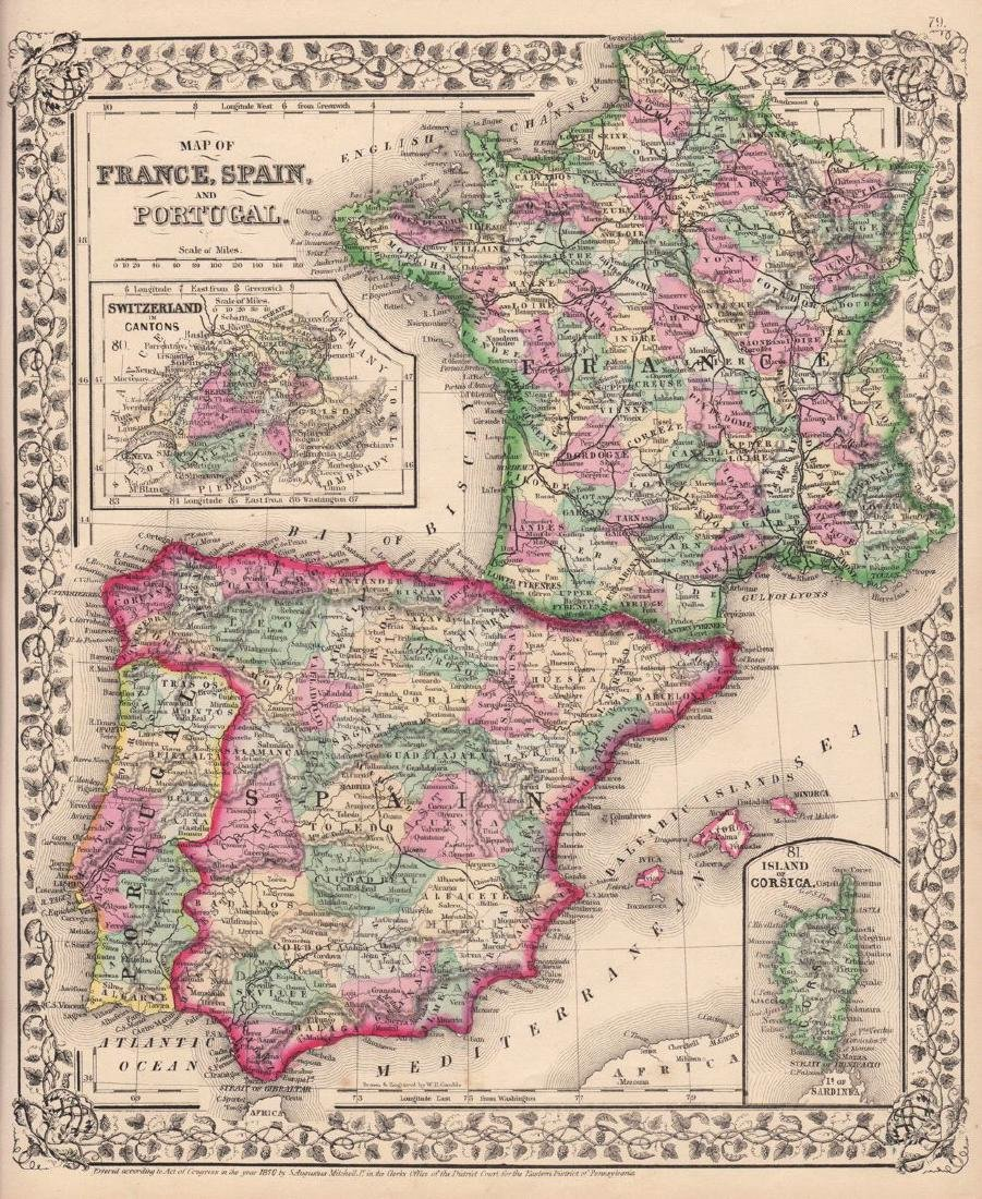 Mitchell: Map of France, Spain, and Portugal, 1870