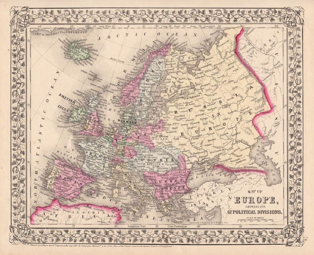 Mitchell: Map of Europe with Political Divisions, 1867