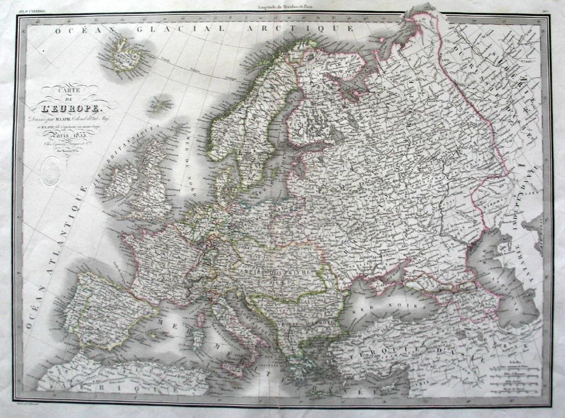 Lapie: Carte de l'Europe, 1833
