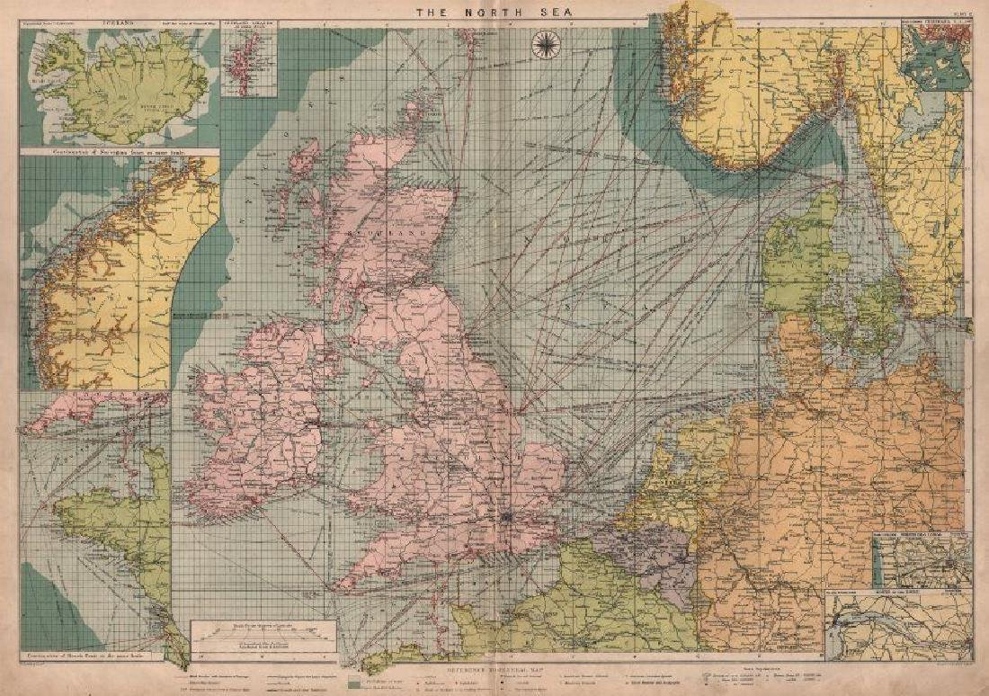 Large Map of Norway: North Sea Chart, 1914