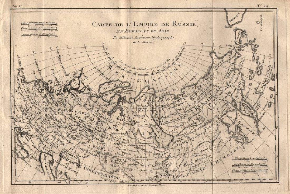 Bonne: Map of Russia in Asia and in Europe, 1780