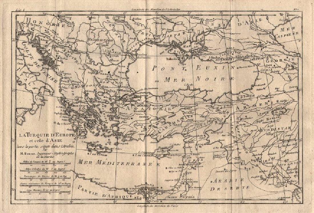 Bonne: Map of Turkey in Europe & Asia, 1780