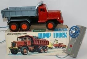 Vintage ASAHI Japan Battery DUMP TRUCK Toy #3H-265