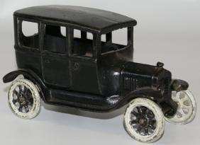Vintage ARCADE Cast Iron Black Sedan Car, All Original