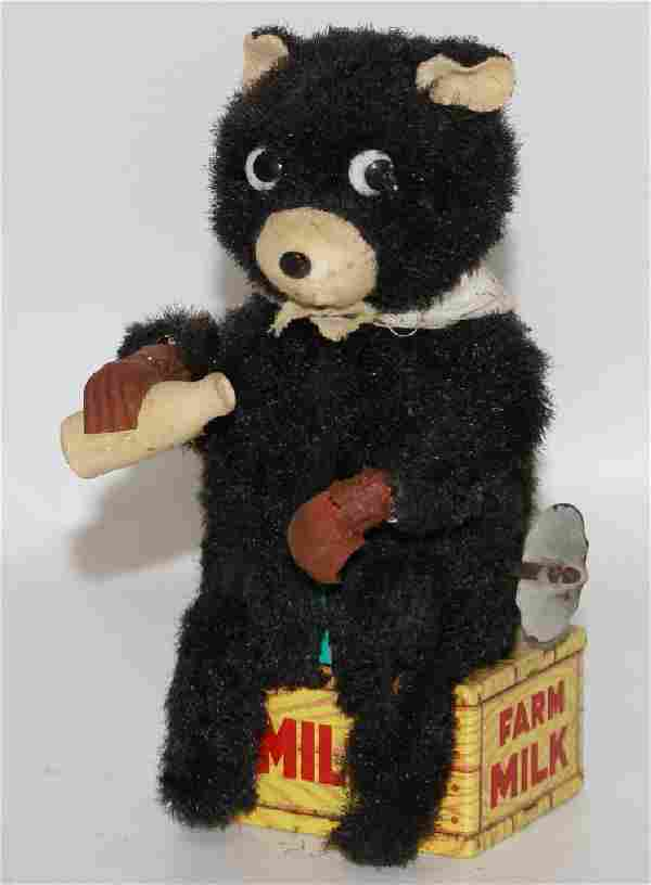Vintage 1950's Windup HUNGRY CUB Drinking Bear Toy