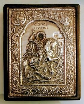 Greek Silver Icon Of St. George