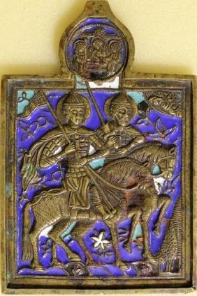 Saints Boris & Gleb Metal Russian Icon, 19th C
