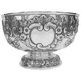 Antique Victorian Sterling Silver Hand Chased Bowl 1896