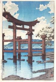 Kawase Hasui: Torri in Tawaza Lake, Akita