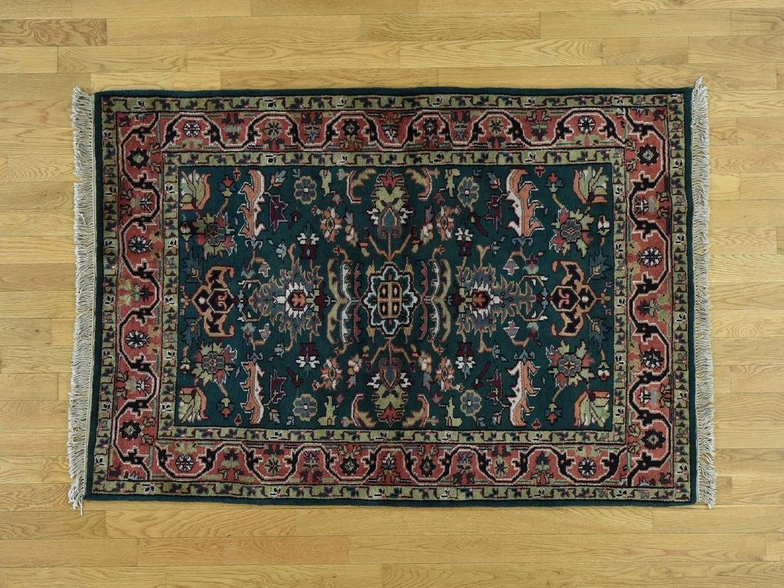Handmade Indo Heriz Pure Wool Oriental Rug 4x6