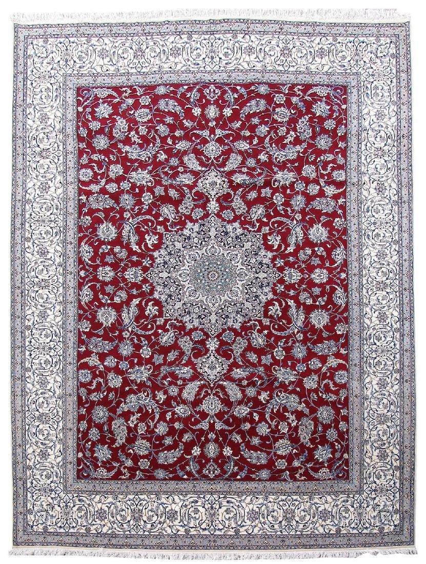 Persian Nain Wool Silk Detail Hand Knotted Rug 9x13