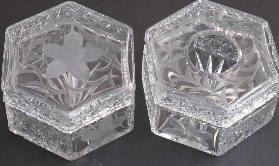 Dresser Set Hexagon American Brilliant Period Cut Glass