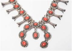 Coral & Sterling Squash Blossom Pendant Necklace