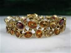 Mid Century 14k Gold Citrine Diamond Garnet Bracelet