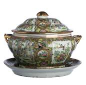 Chinese Porcelain Tureen with Stand, Mandarin