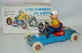 Vintage Nomura Japan Tin Litho LITE-O-WHEEL Go Kart Toy