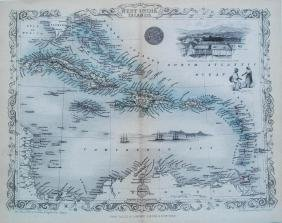 Tallis: Map Of The Caribbean & West India Islands, 1851