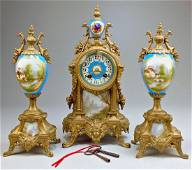 French Antique Brass & Porcelain Clock and Candelabras