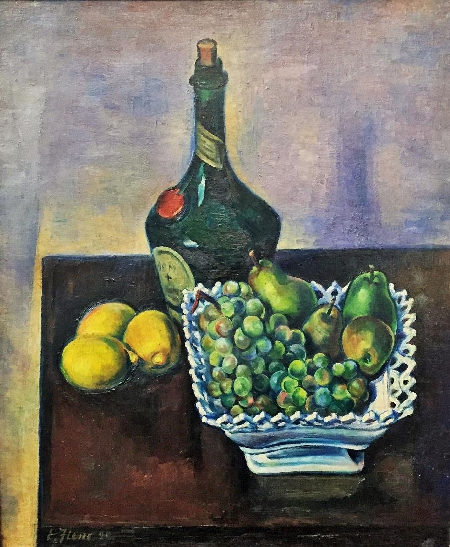 Still-Life with Cognac, Lemons & Grapes by Ernest Fiene