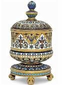Ovchinnikov Russian Silver Enamel Tobacco Jar, 1883