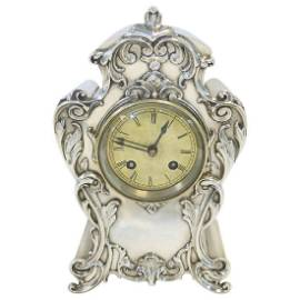 Antique William Comyns Sterling Silver 8 Day Clock 1902
