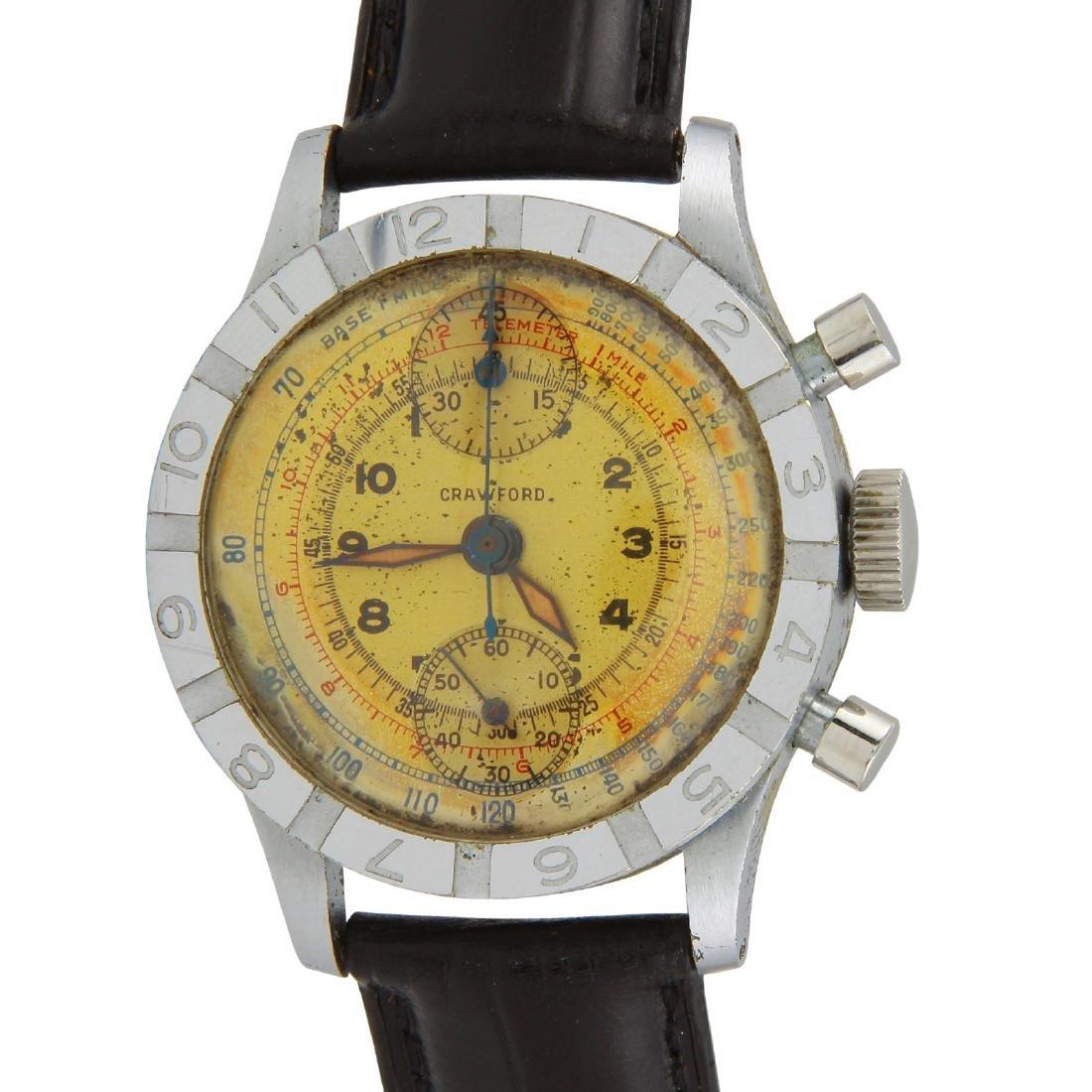 Rare Vintage Crawford WW2 Chrono John C. Wright Watch