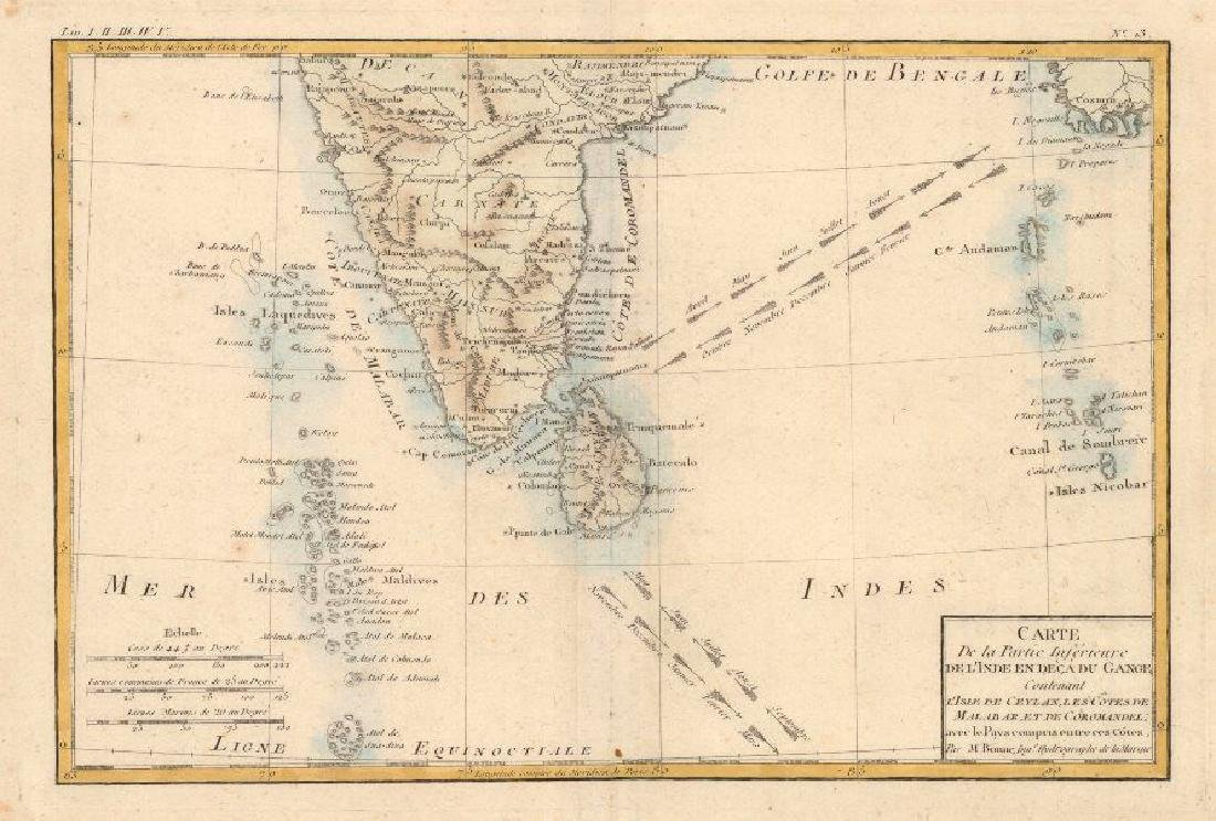 Bonne: Map of South India Ceylon Maldives, 1780