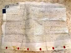 1782 Large English Vellum Deed w/ Red Wax Seals