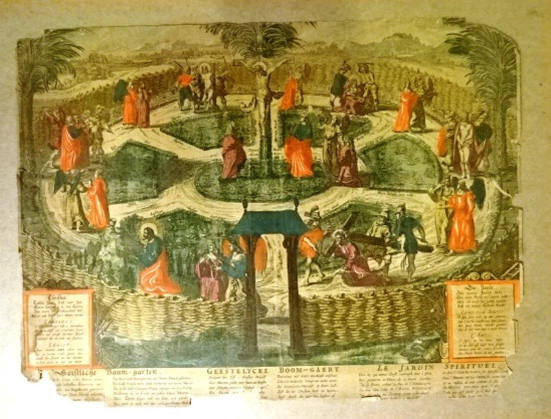 17th C Frederick De Wit Handcolored Engraving Christ