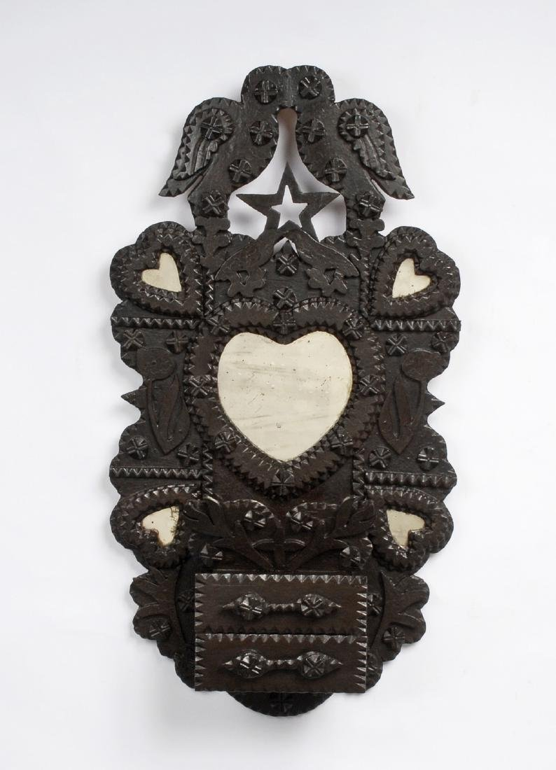 John Zadzora 'Kissing Doves' Tramp Art Wall Pocket