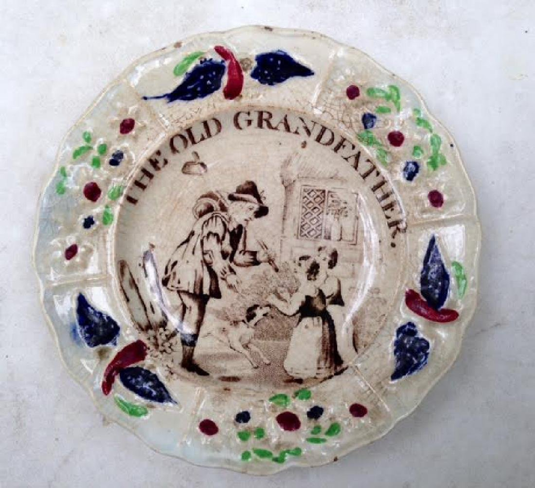 "19th C ""The Old Grandfather "" Soft Paste Child's Plate"