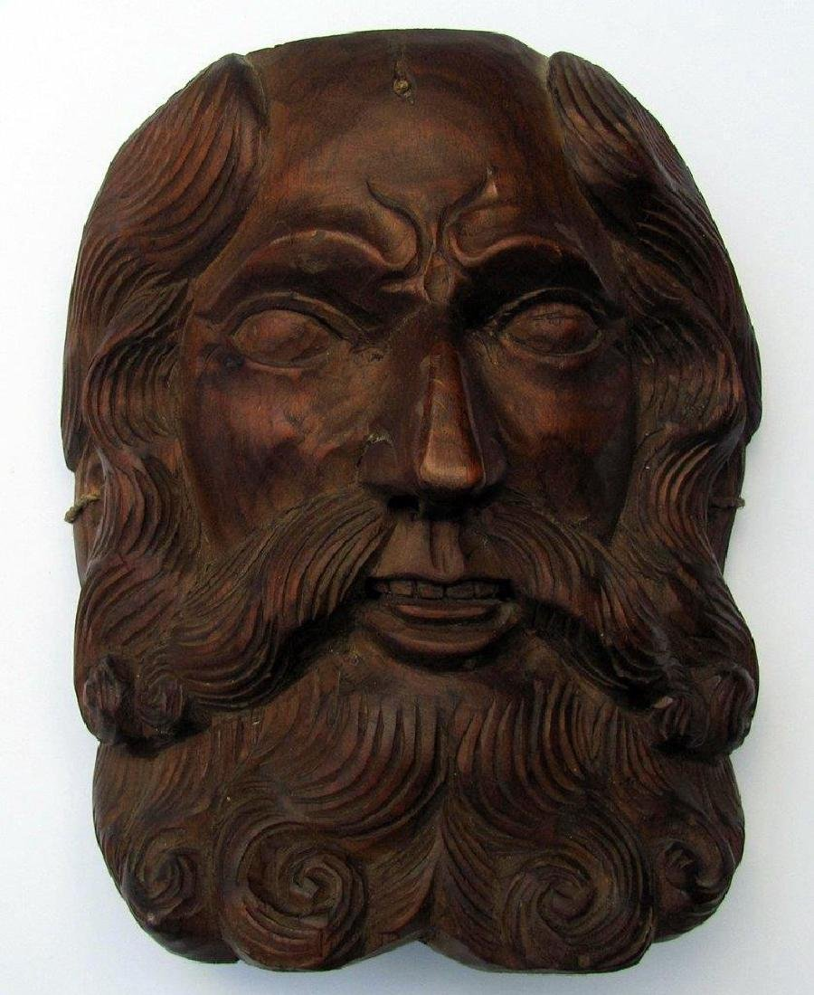 20th Century 3-D Carved Wood Mask of Old Man