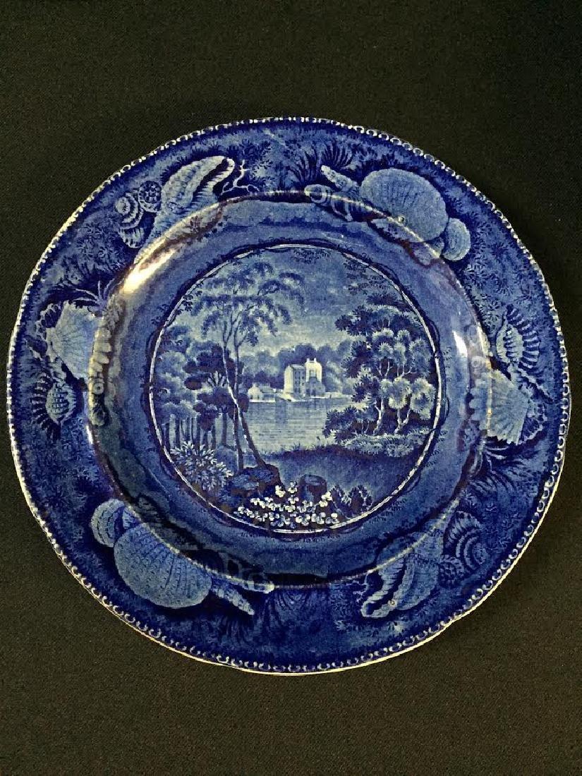 Historical blue Staffordshire Plate, Brandywine Creek