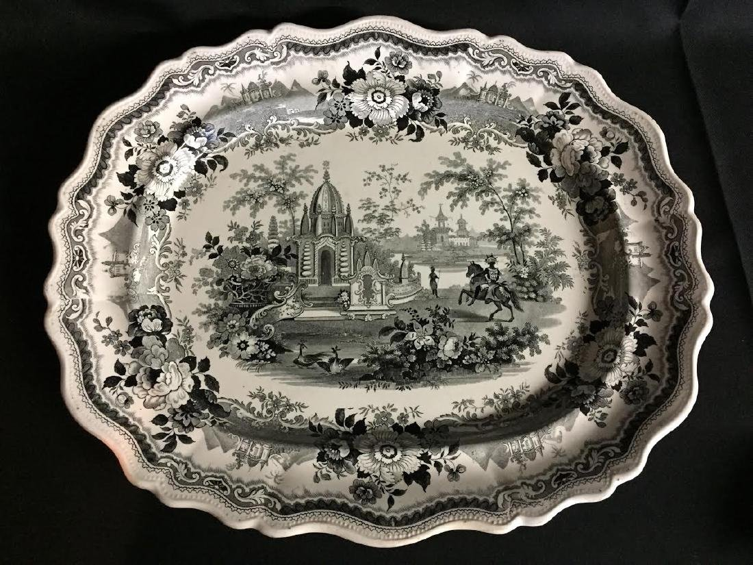Large 19th C. Black Transferware Palestine Platter