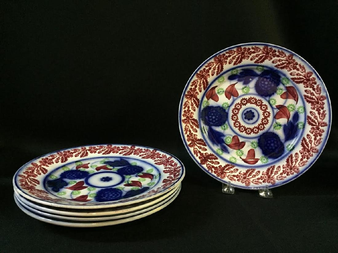19th C. Stick Spatter Plate Set 5