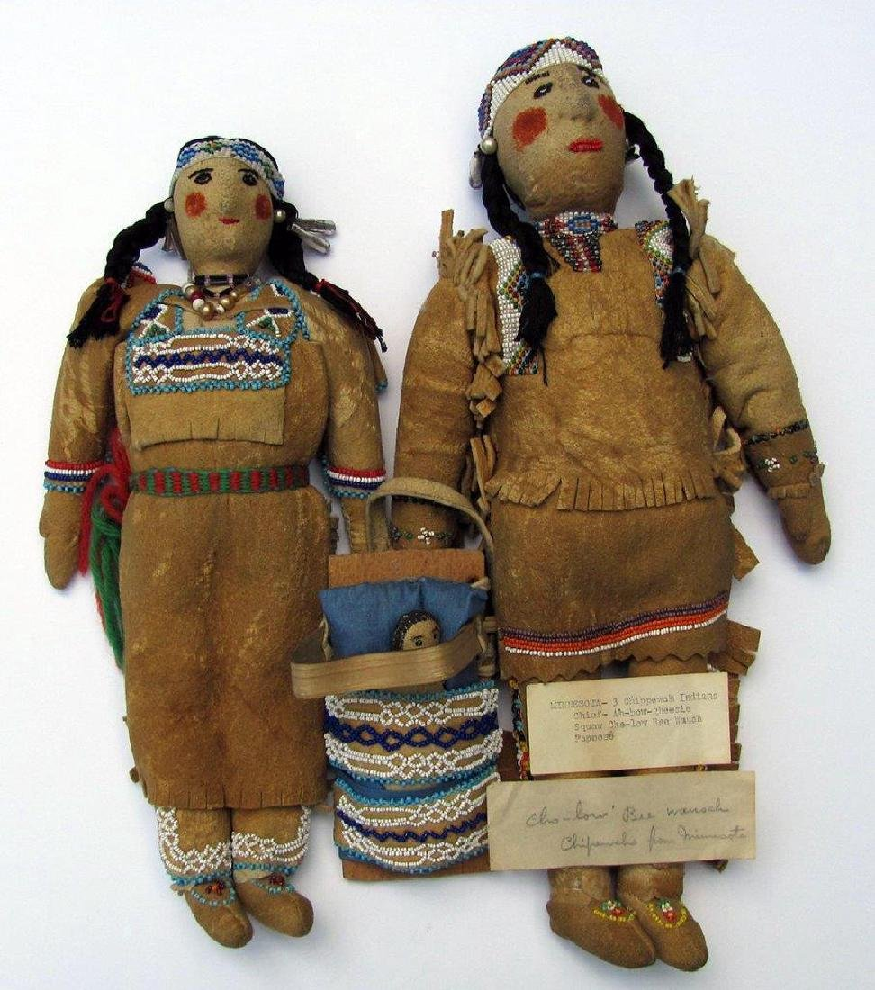Lot of 3, C. 1930 American Indian Dolls Minnesota