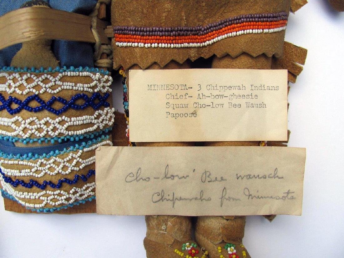 Lot of 3, C. 1930 American Indian Dolls Minnesota - 3