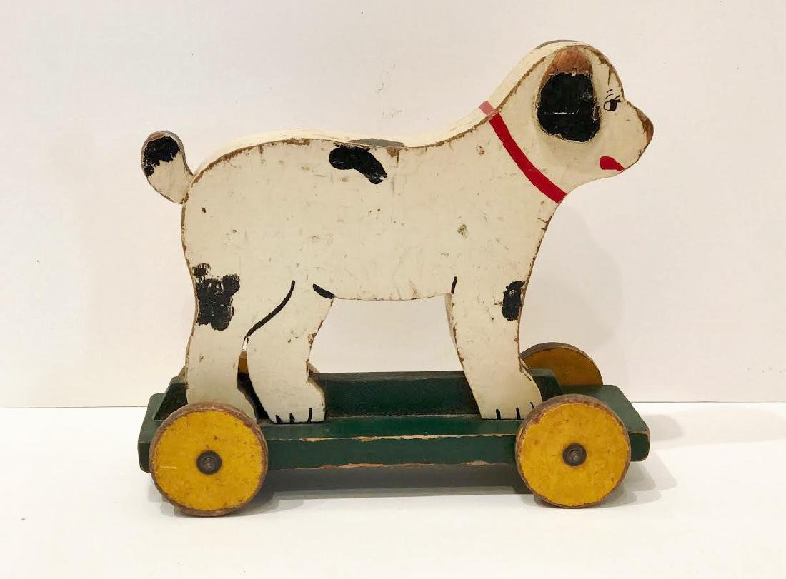 Folk Art Dog on Wheels