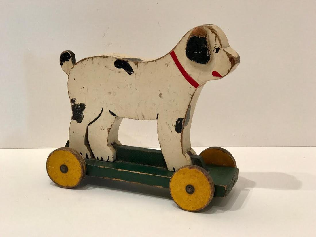 Folk Art Dog on Wheels - 2
