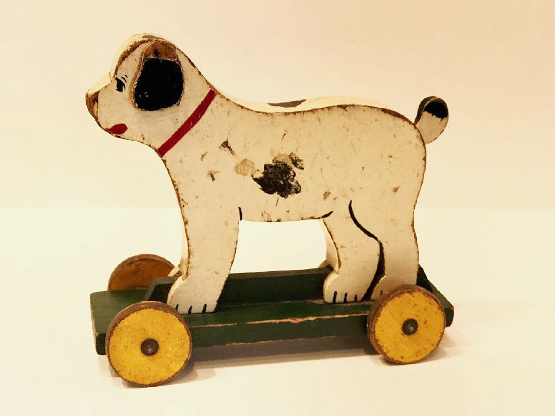 Folk Art Dog on Wheels - 4