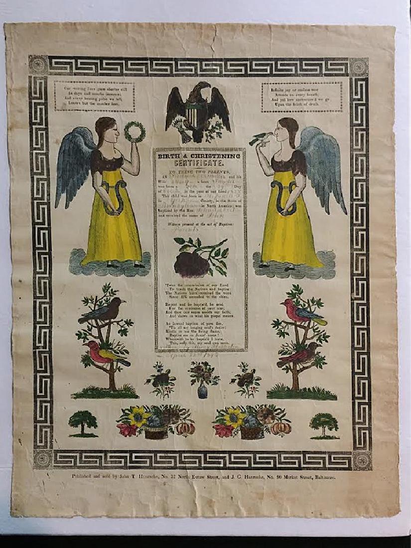 1840s Fraktur Birth Certificate