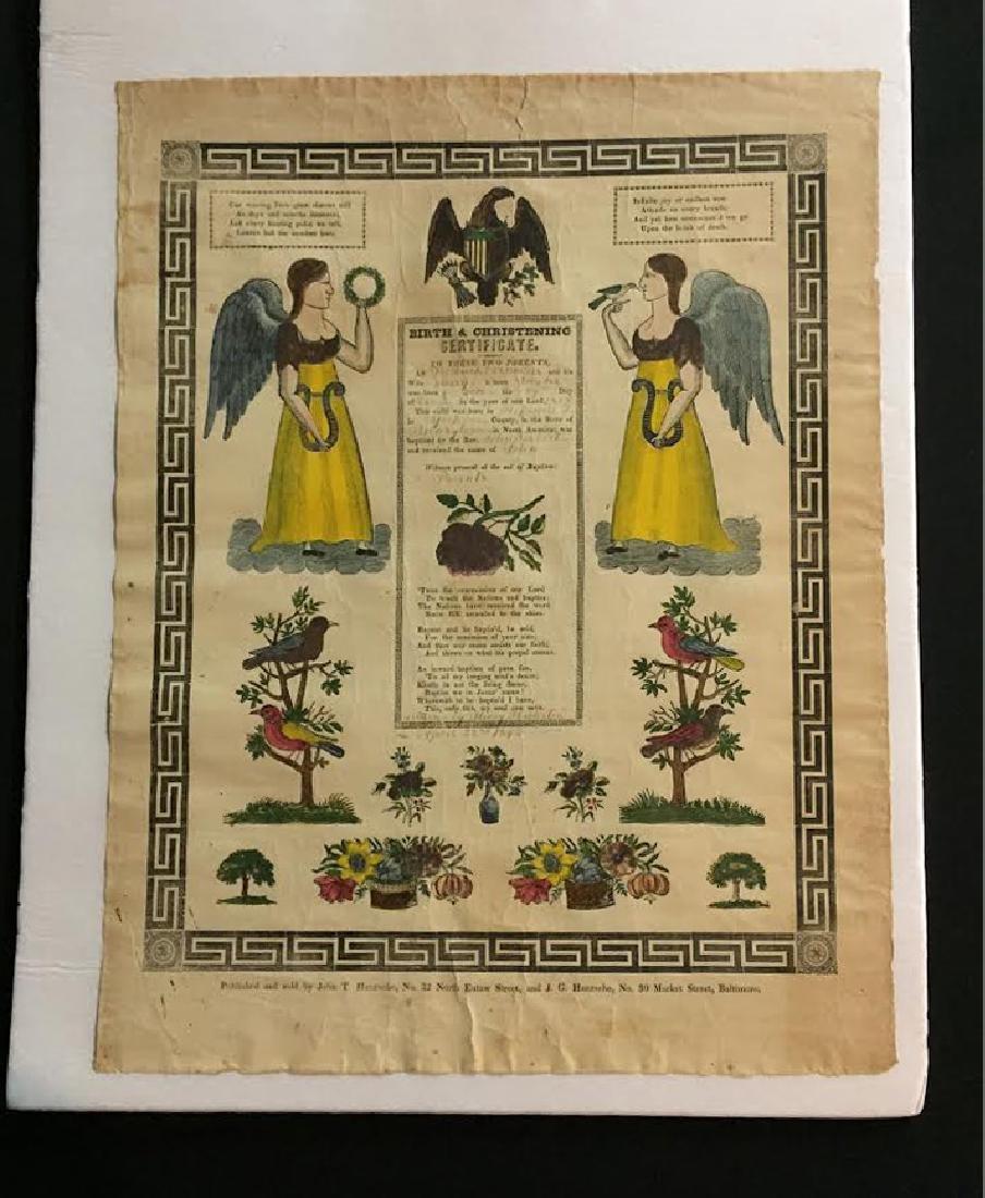 1840s Fraktur Birth Certificate - 2