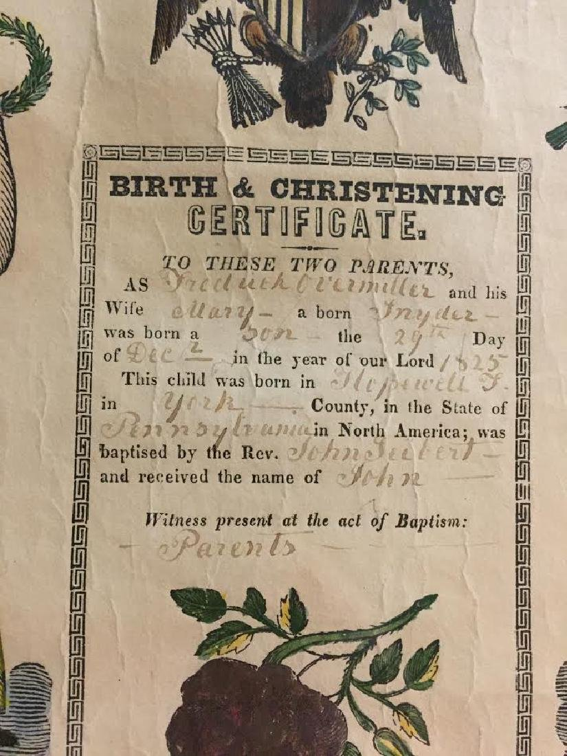 1840s Fraktur Birth Certificate - 3