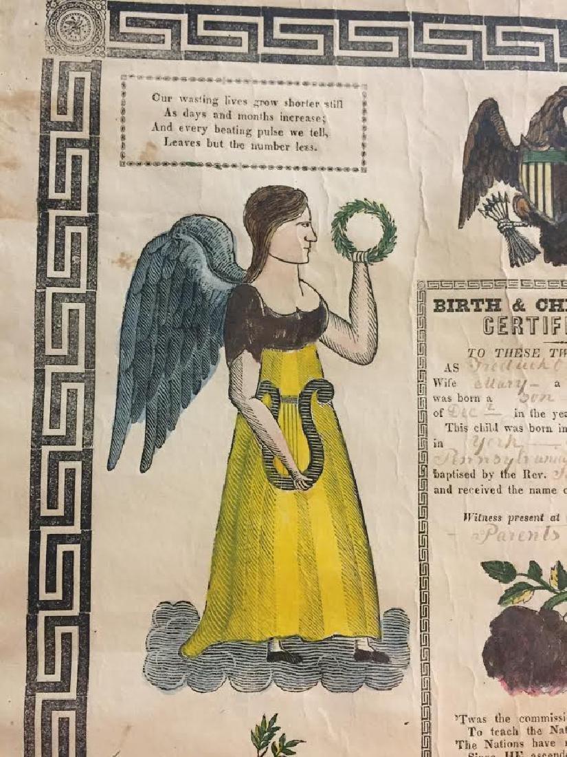 1840s Fraktur Birth Certificate - 4