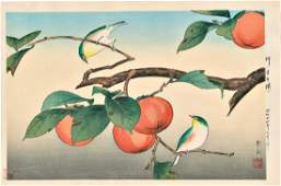 Gakusui Ide: White-eye on a Persimmon Tree