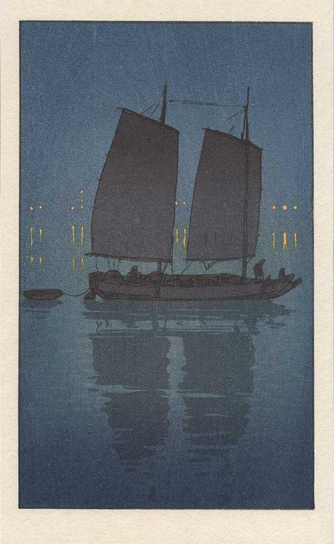 Hiroshi Yoshida, After: Traditional Sailing Boat, Night