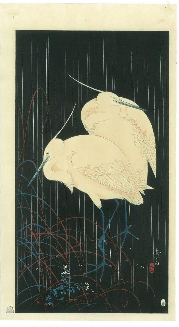 Imao Keinen: Egrets in Rain on Black Ground